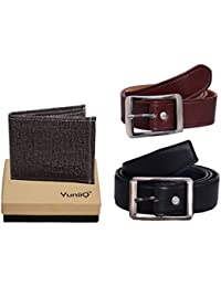 Combo Pack Of Black Denim Shade Wallet With Black And Brown Belt.