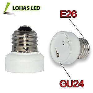 LOHAS® 3-Pack E26 to GU24 Adapter - Converts Medium Screw (E26/E27