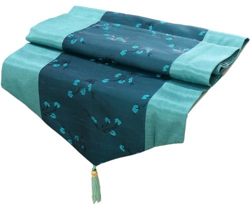 Artiwa Teal Turquoise Silk Decorative Table Runner / Bed Runner Scarf 14 x 64 inch with Green Floral (Teal Table Runner compare prices)