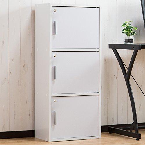 プライベート収納棚 3段【ゼウス】 鍵扉付き セキュリティ カラーボックス A4サイズ対応 ホワイト色