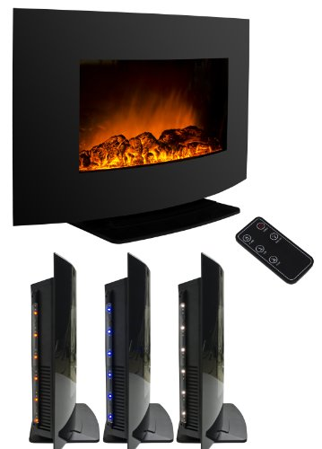 AKDY AZ-520S-ALB Wall Mounted Or Floorstand Electric Black Fireplace Remote Control Heater Firebox W/Stand photo B00GCSJ48I.jpg