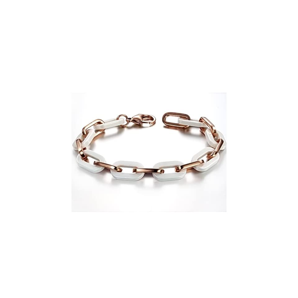 Opk Jewelry Fashion Women's Tennis Bracelets High Quality White Ceramic And Rose Gold Plated Stainless Steel Hook ups Link Chains Wristband Classic Gift 8.27 Inch Length 10mm Width 25g Weight OPK Jewelry