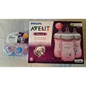 Philips AVENT Pink Flowers Bundle Natural Bottles 3 Pack And 2 Pacifiers