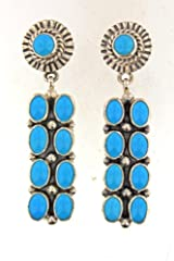 Sleeping Beauty Turquoise Earrings Navajo Handmade