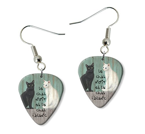 le-chat-noir-black-white-cats-martin-wiscombe-guitare-mediator-pick-boucles-doreilles-earrings-vinta