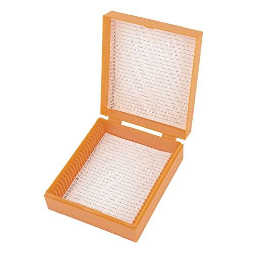 Orange Plastic Rectangular Microscope Glass Slide Boxes For 25 Slides