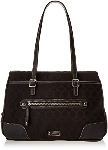 Nine West 9 Jacquard Satchel Top Handle Bag, Black/Black, One Size