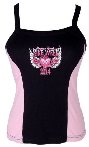 Leather Supreme Women's Daytona Beach Bike Week 2014 Wings Heart Tank Top -Pink-Medium