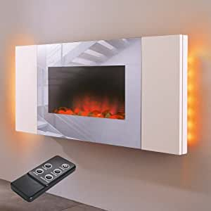 elektrischer wandkamin white wall mit led backlight und fernbedienung k che haushalt. Black Bedroom Furniture Sets. Home Design Ideas