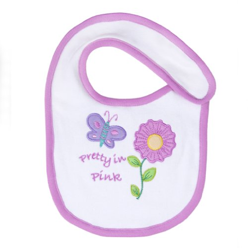 Funkoos Organic Cotton Butterfly Applique Bib for Newborn Baby Infant Girl - 1