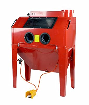 Steel Brass Constructed 110 Gallon Sandblast Cabinet with Gloves, Pedal, Gun, Nozzles and Built-in Dust Collector