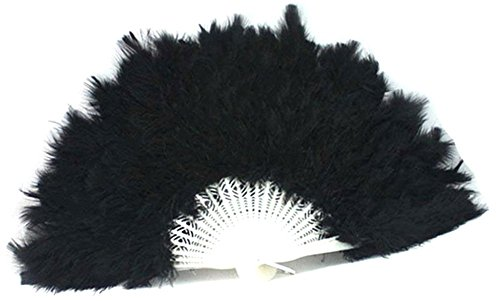 BleuMoo Soft Fluffy Lady Burlesque Wedding Hand Fancy Dress Costume Dance Feather Fan (Black) (Big Feather Fans compare prices)