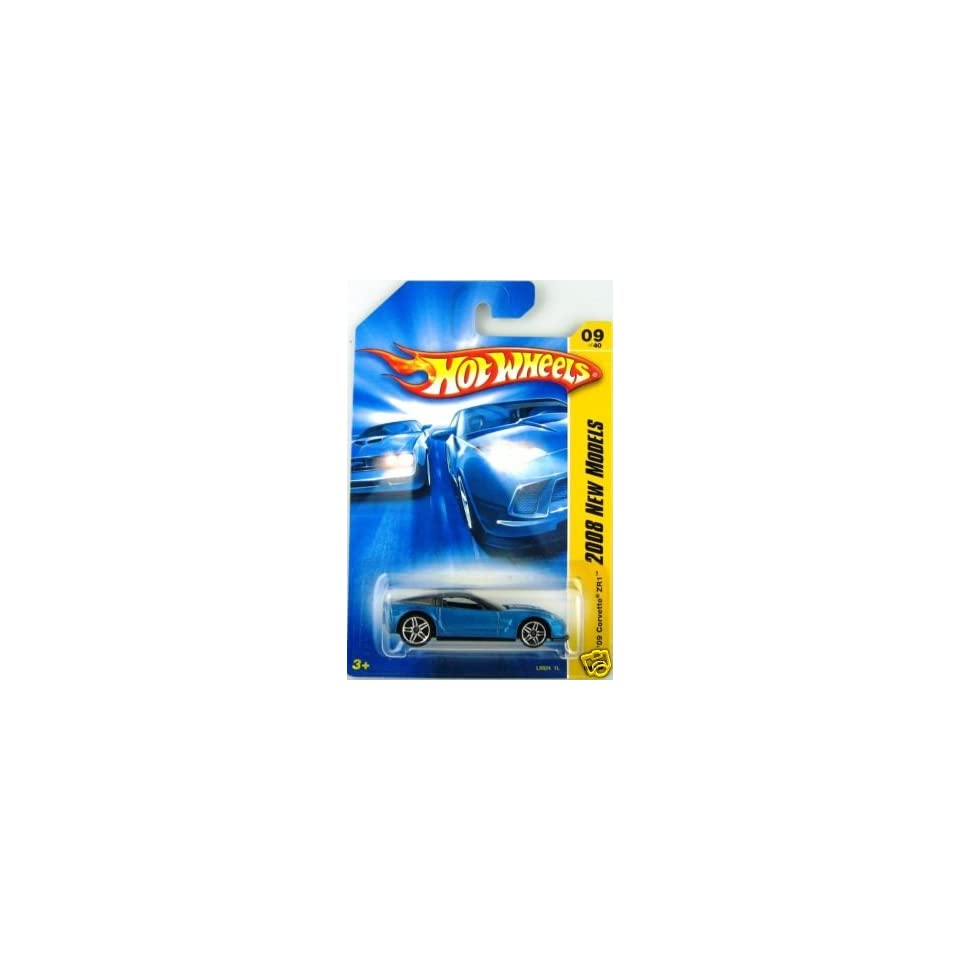 Mattel Hot Wheels 2008 New Models Series 164 Scale Die Cast Metal Car # 9 of 40  Metallic Blue Luxury Sport Coupe 2009 Chevy Corvette ZR1