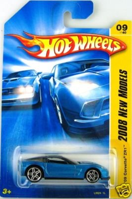Mattel Hot Wheels 2008 New Models Series 1:64 Scale Die Cast Metal Car # 9 of 40 : Metallic Blue Luxury Sport Coupe 2009 Chevy Corvette ZR1 - 1