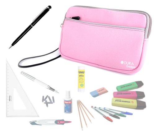 DURAGADGET Pink Water Resistant Protective Soft Pencil Case With Front Storage Pocket with BONUS Black Stylus Pen