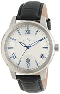 Lucien Piccard Men's LP-10046-023S White Textured Dial Black Leather Watch by Lucien Piccard