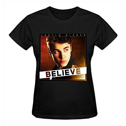 Justin Bieber Believe Women's 2016 Short Sleeve Round Neck T-Shirts Black (Wine Justin compare prices)
