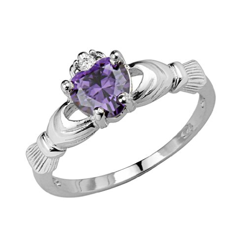 Sterling Silver Rhodium Plated Amethyst Heart February Birth Stone Irish Celtic Claddagh Ring - Love, Friendship, Loyalty - Size 5