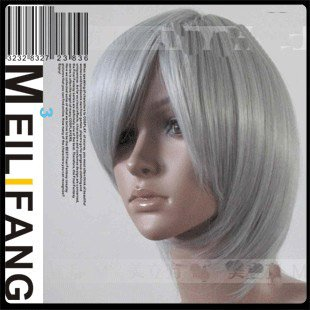 Wholesale Black Butler Kuroshitsuji STEIN Short Silver gray Costume Cosplay wig