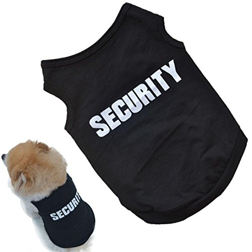 [Small Dog Shirt, Voberry® Fashion Pet Puppy Clothes Summer Quote Security Cotton Costumes Pet Dog Cat Funny Shirt T Shirt Black] (Costumes For A Cat)