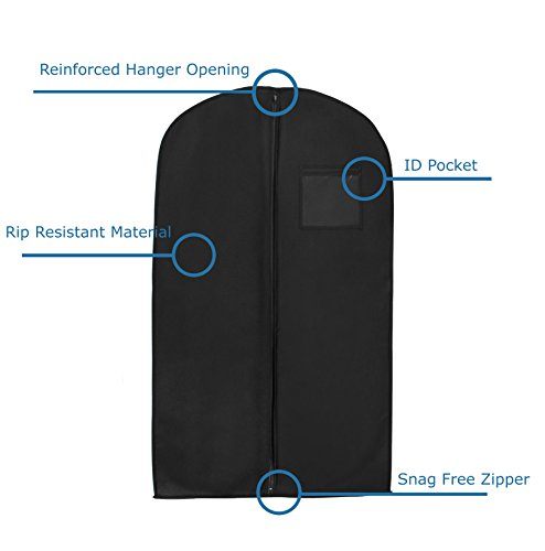 1 X New Breathable 54″ Suit/Dress Black Garment Bag by Bags for Less
