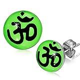 Bright Green Stainless Steel Spiritual Hindu Ohm Religious Symbol Circle Stud Earrings