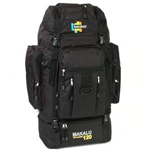 Karabar Makalu Large 120 Litres Travel Backpack - 3 Years Warranty! (Black)