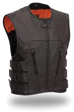 "Mens Leather Swat Team Style Motorcycle Biker Vest Bullet (Small 34"" - 36"")"