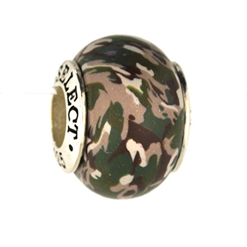 Army Multicam Deployment Camo Camouflage Awareness Ribbon Bead Charm for Add-A-Bead Bracelets Clay & Sterling Silver by MAYselect SIZE Small