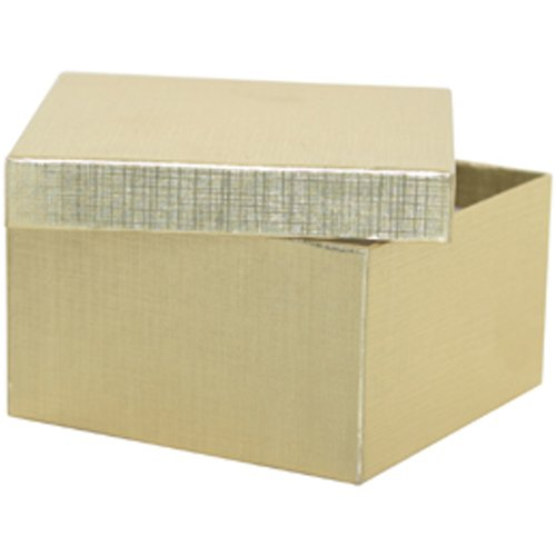3 1/2 x 3 1/2 x 2 Gold Line Gift Box (Jewelry Box) - Sold individually