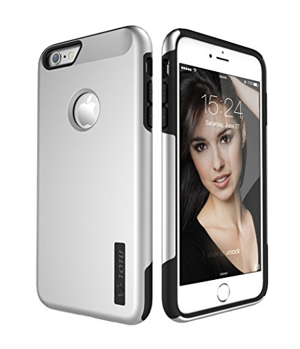 iPhone 6S Plus Case, TOTU® [ARMOR Series] Ultra Fit Dual Layer Case, Premium Hybrid Heavy Duty [Shock-Absorption] Protective Case Compatible with Apple iPhone 6 plus (2014) and iPhone 6S Plus (2015) - Silver / Black