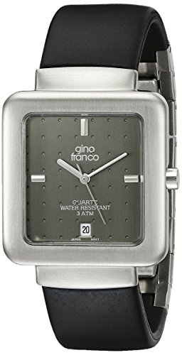 gino franco Men's 994GY Square Stainless Steel Case and Rubber Strap Watch