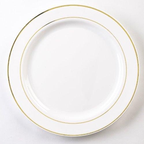 Emi Yoshi Koyal Glimmerware Salad Plates, 7.5-Inch, White And Gold, Set Of 120