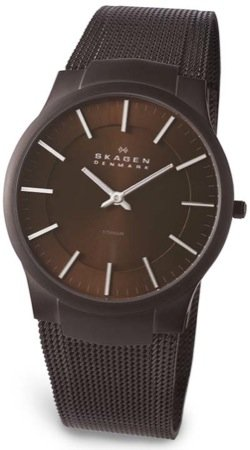 Skagen Brown Mesh Style Mens Titanium Watch 694XLTMD