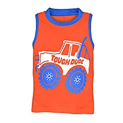 Orange and Orchid Boys Casual Printed Cotton Round Neck Sleeveless Orange Color T-Shirt