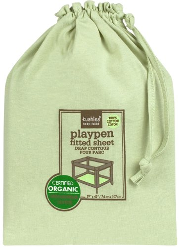 Kushies Organic Jersey Play Pen Fitted Sheet, Green (Discontinued by Manufacturer)