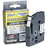Brother P-Touch TZFA3 - TZ Industrial Series Fabric Iron-On Tape, Navy-on-White, 1/2 x 9.8ft