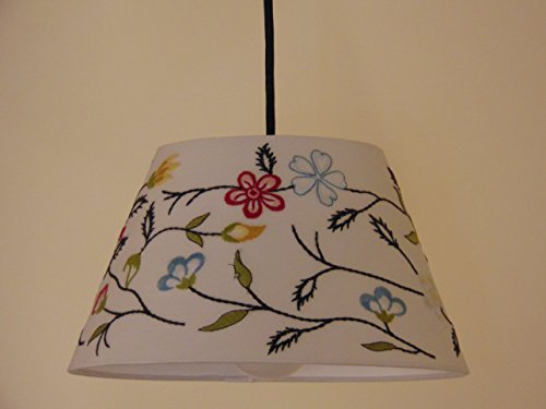 """Ikea Hanging Lamp Shade 11.25"""" With Premium Black Fabric Wrapped Cord Set And Led E26 Bulb Included"""