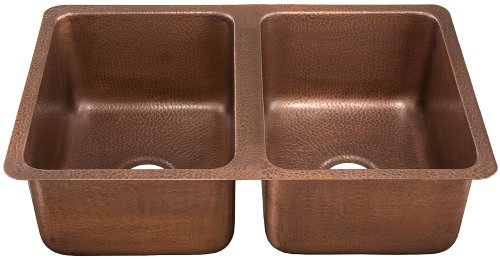 ECOSINKS K2D-3120HA Undermount Hammered 2-Hole Double Bowl Kitchen Sink, Antique Copper