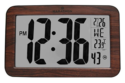MARATHON CL030033WD Atomic Self-setting Self-adjusting Wall Clock w/ Stand - Wood Tone