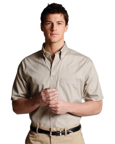 Ed Garments Men'S Button Down Short Sleeve Poplin Shirt, Tan, Large