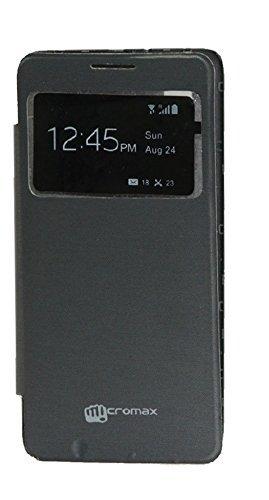 Dashmesh Shopping Premium Durable Caller ID Flip Cover Case for Micromax A102 CANVAS Doodle 3 Black