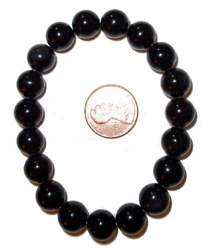 10mm Tibetan Tektite Bracelet 01 Round Bead Grounding Root Chakra Healing Crystal (Gift Box) (6 Inch..
