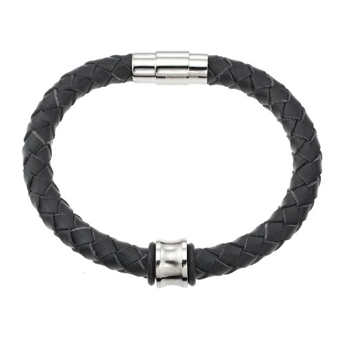 Couro Stainless Steel and Black Leather Look Concave Bead Bracelet