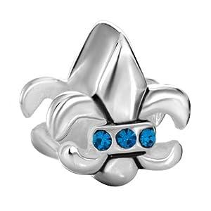 Pugster 925 Sterling Silver Vivid Fleur De September Birthstone Blue Crystal Jewelry Gift Beads Fits Pandora Charm Bracelet