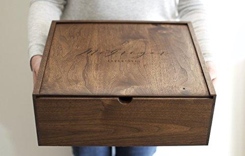 Extra Large Keepsake Box - Engraved Wooden Box - Wood Photo Box - Personalized Walnut Memory Box - Wedding Card Box (Personalized Photo Box compare prices)