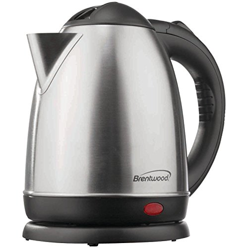Brentwood KT-1780 Stainless Steel Electric Cordless Tea Kettle, 1.5 L, Silver