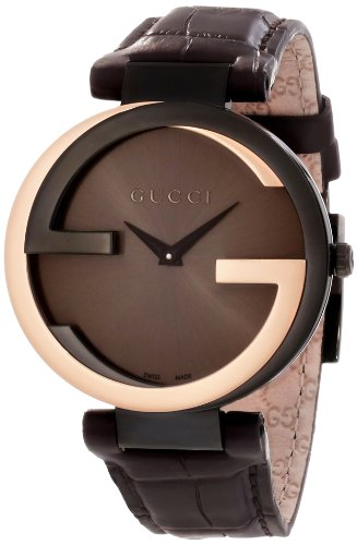 Gucci Women's YA133304 Interlocking Brown Crocodile Pink Gold Watch