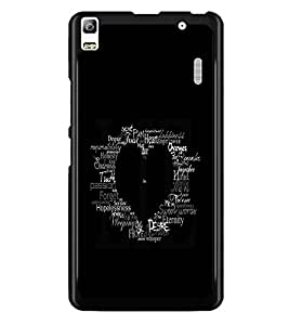 PrintDhaba Typographic Heart D-2335 Back Case Cover for LENOVO A7000 PLUS (Multi-Coloured)