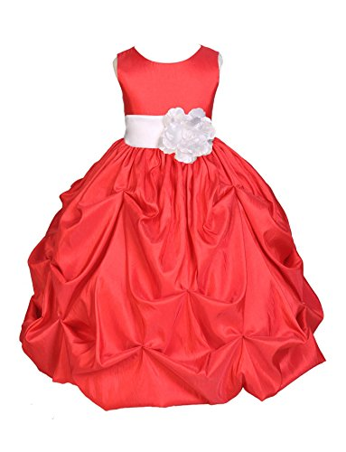 Wedding Pageant Red Bubble Pick-Up Kid Flower Girl Dress 301S 10